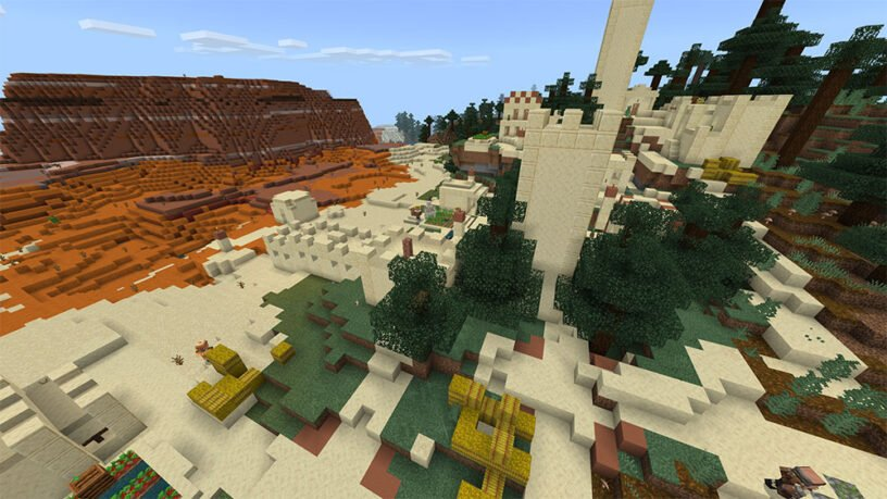 Badlands & Giant Tree Taiga - Desert Village (Bedrock - 1.15+)