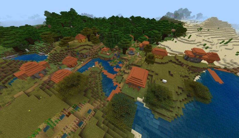 Savanna Village Overlapping w/Dark Oak Forest Seed